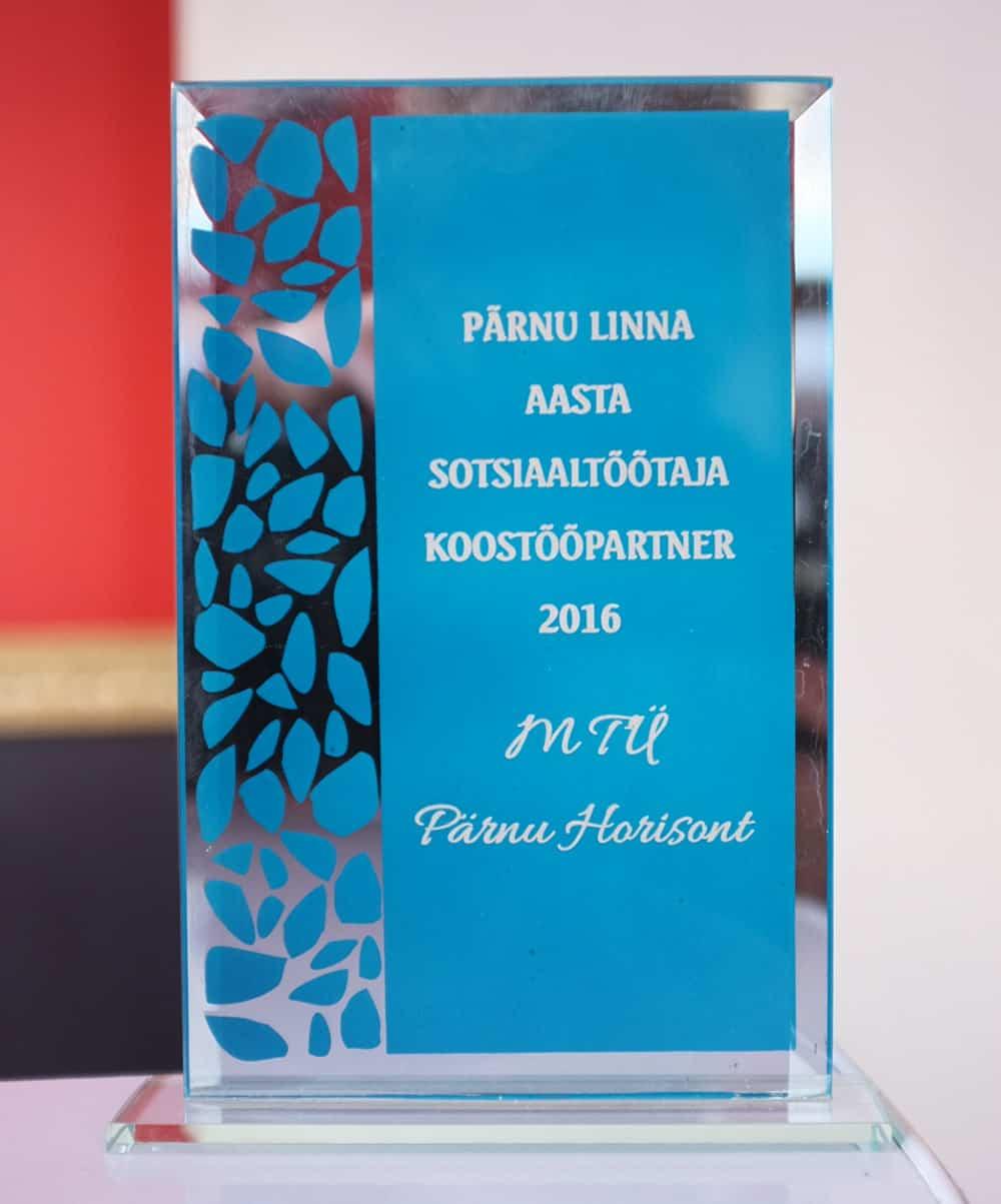 Parnu linna aasta sotsiaaltootaja koostoopartner 2016 Parnu Horisont